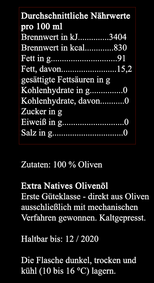 Extra Natives Olivenöl // würzig & leicht pfeffrig
